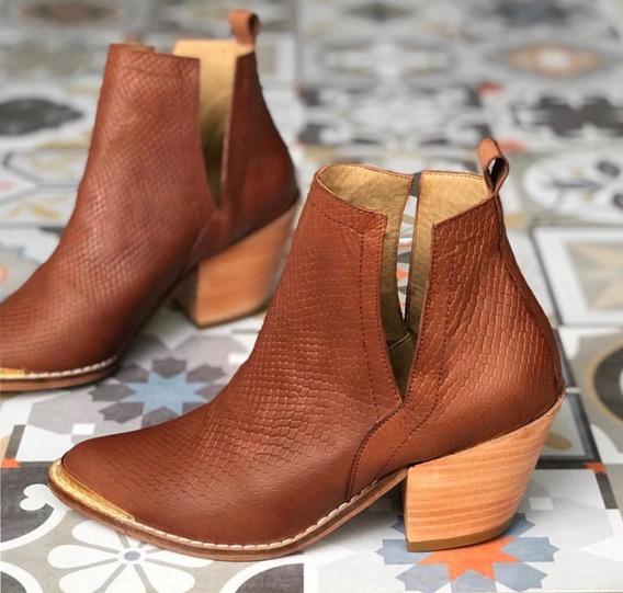 Zapato Mujer Bota Cuero Reptil Con Recorte - Lynch #4770