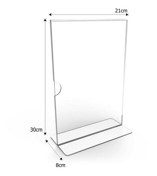 Display Expositor Em T Tamanho A4 Acrílico Ps Cristal 10un.