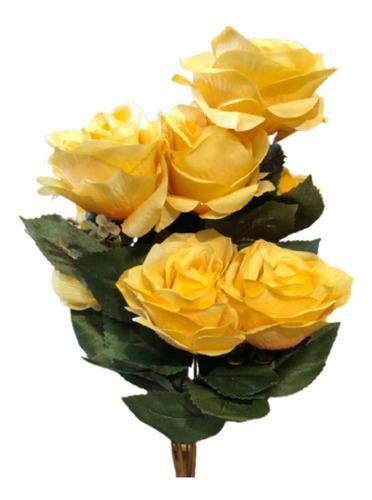 Buquê De Rosas X9 55cm - Amarelo Outono