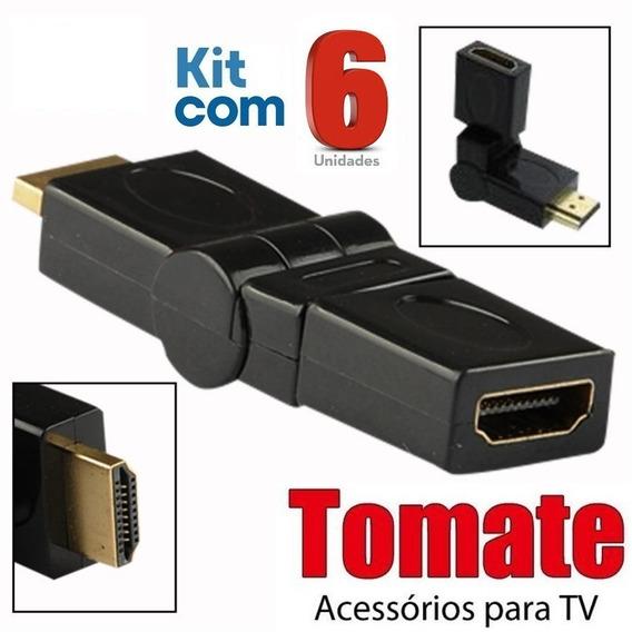 Adaptador Hdmi 360º Emenda Articulável / Tomate / 6 Unidades