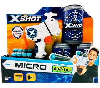 X-shot Micro Pistola 8 Dardos Y Latas Objetivos 3614 Bigshop