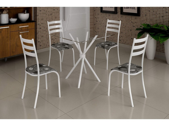 Conjunto Mesa C/ Tampo Vidro E 4 Cadeiras Madmelos Cjwt