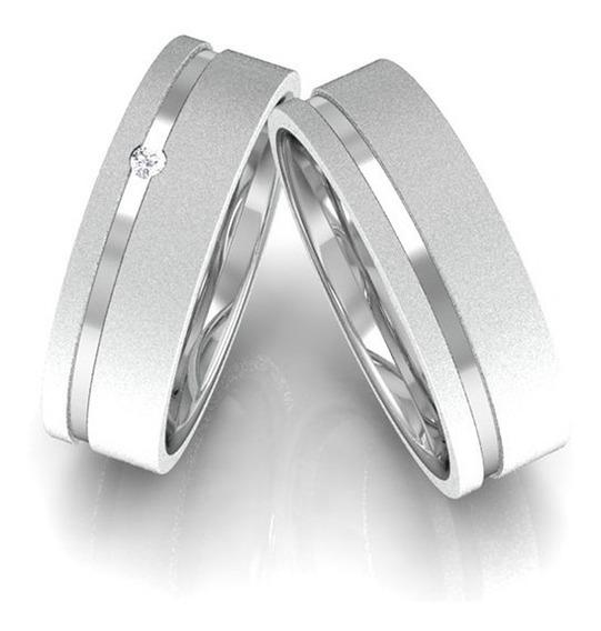 Alianças De Prata 950 5mm Namoro Compromisso Diamantada
