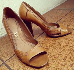 Peep Toe De Couro (tamanho 37)