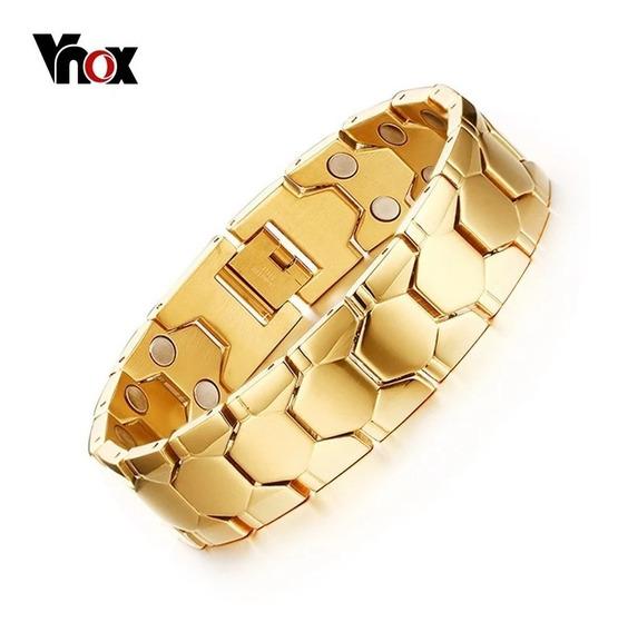 Pulseira Masculina Bracelete Banhado Ouro 18k Grossa Maciço