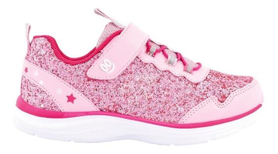 Zapatillas Brillitos C/ Velcro Rosa- Footy Oficial