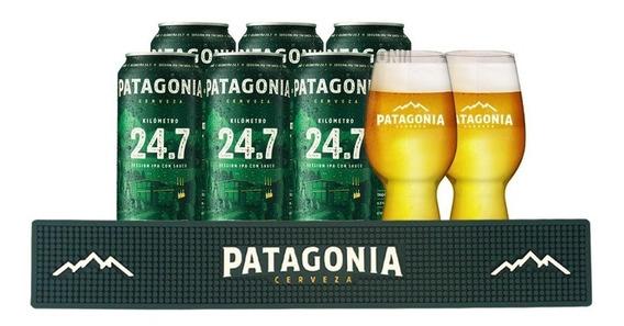 Cerveza Patagonia 24,7 473 Cc X 6 + 2 Vasos Ipa + Barmat