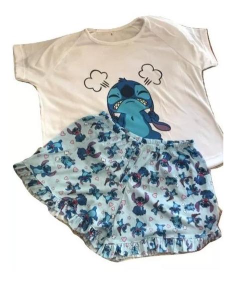 Conjunto Pijama Stitch Lilo Verano Envios Mujer Moda
