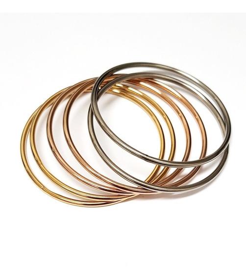 Conjunto Com 6 Braceletes Argolas Em Aço Inoxidável 3 Cores