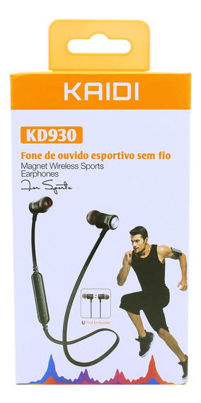 Fone In-ear Wireless Top Fitness Android iPhone Kaidi Kd930