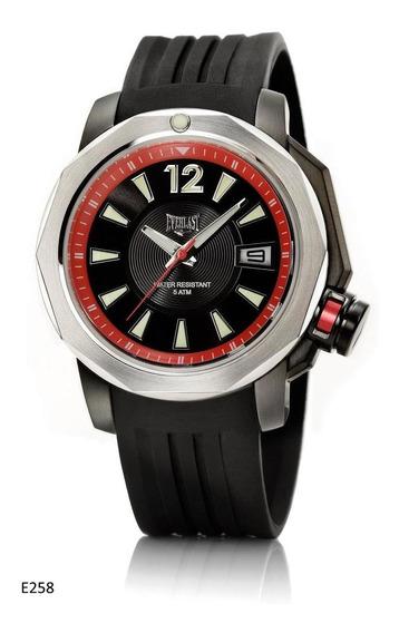 Relógio Pulso Everlast Masculino Aço Silicone Preto E258