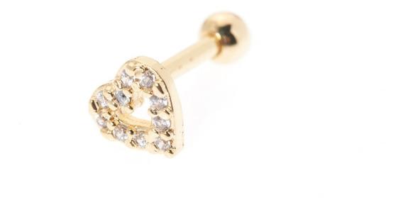 Piercing Coração Banhado A Ouro Pedras Zircônia Haste 6mm
