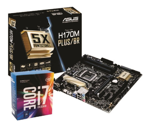 Kit Placa Mãe Asus H170m Plus/br Intel I7 7700k Sem Cooler