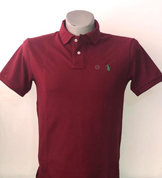 Camiseta Tipo Polo 100% Original Color Vinotinto