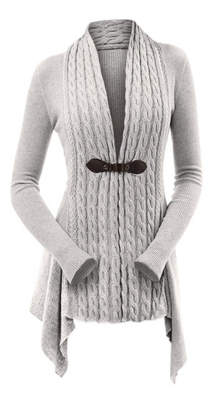 Vestido Cable Knit Ribbed Buckle Plus Size Cardigan L-3xl