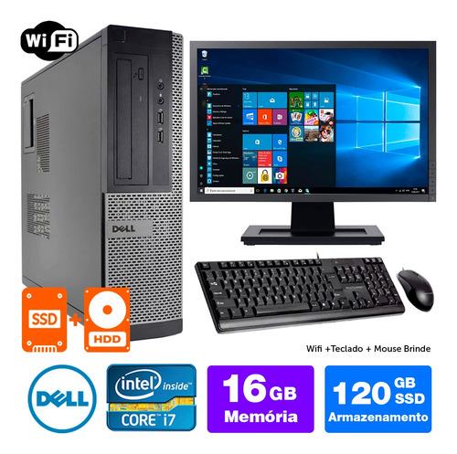 Desktop Usado Dell Optiplex Int I7 2g 16gb Ssd120+1tb Mon19w
