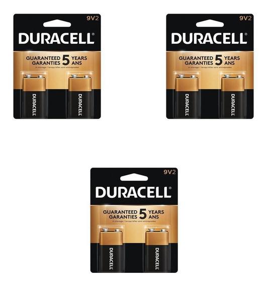 Kit Com 6 Baterias 9v Alcalina Duracell - 3 Cartelas
