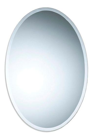 Espejo Oval Biselado 50x70 Cm Colgar Baño Living Vertical
