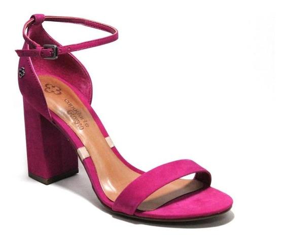 Sapato Sandalia Feminina Salto Baixo Grosso Rosa Capodarte