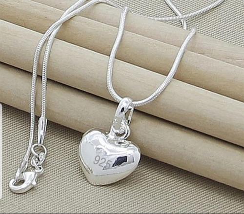 Collar Colgante Para Fotos Diseño De Corazón - Plata 925