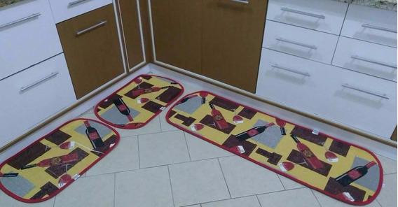 Jogo Tapete Cozinha 3 Peças Atoalhado Antiderrapante Taças