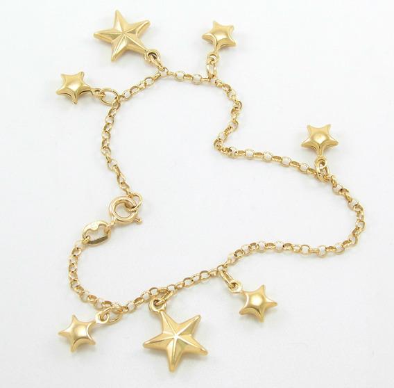 Esfinge Joias - Pulseira Com Pingentes Estrelas Ouro 18k 750