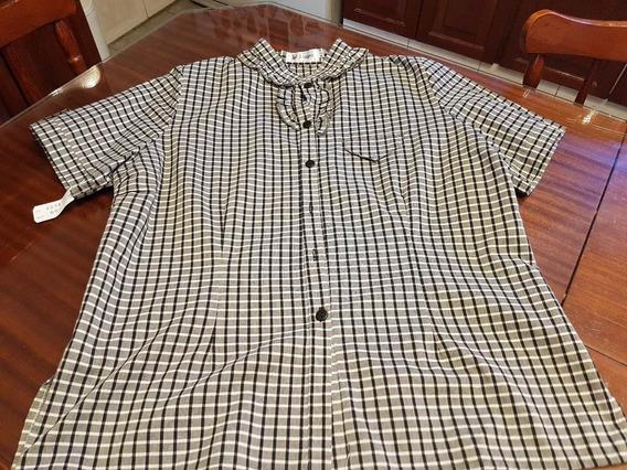Camisa Langer, Cuadrille Blanco Y Negro T L/xxl