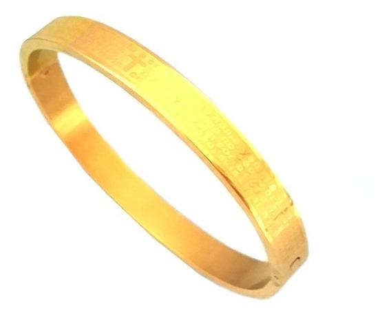 Pulseira Bracelete Masculino Pai Nosso Aço Inox Banhado Ouro