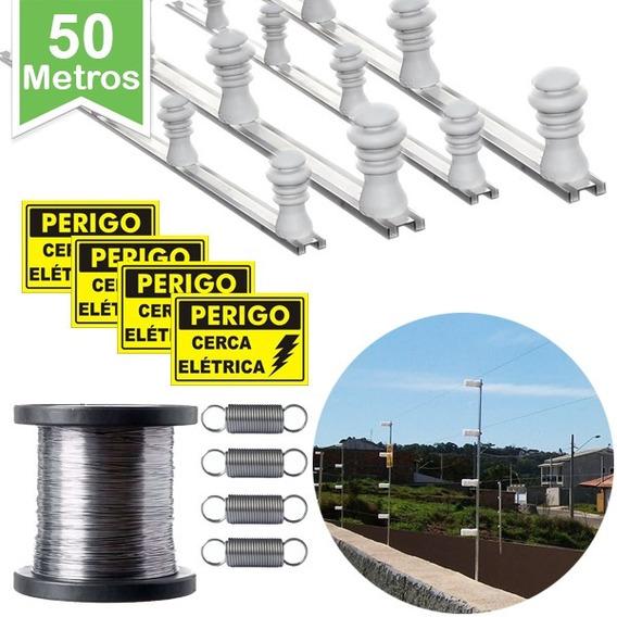 Kit P/ Cerca Elétrica 50 Metros Muro C/ Câmera Falsa Brinde