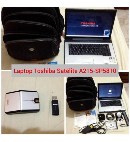 Laptop Toshiba Satellite A215-sp5810, Mouse, Audífono, Bolso