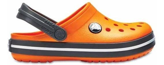 Zapato Crocs Unisex Infantil Crocband Naranja/gris