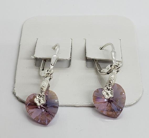 Aros Colgantes Plata 925 -cristal Swarovski - Color Rosa