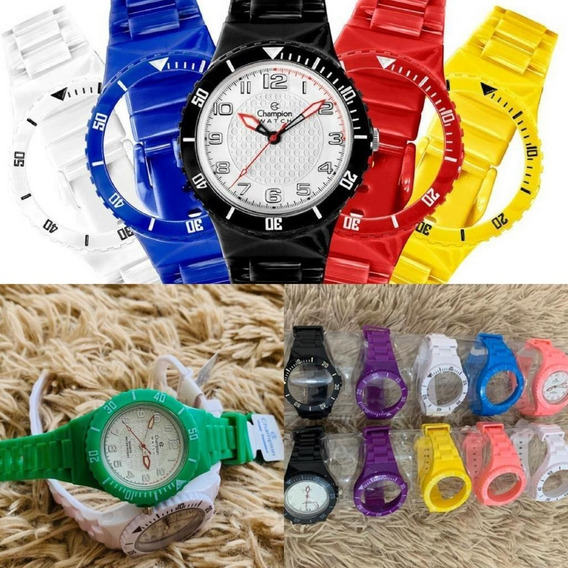Relógio Unissex Colorido Com 5 Pulseiras Coloridas Barato!!!