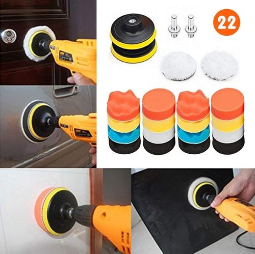 22p Kit De Almohadillas De Pulido Para Coche Lustrar Encerar