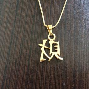 Cordão + Pingente Japonês Folhado Ouro (paz)