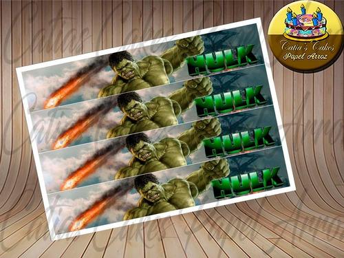 Hulk Papel De Arroz 4 Faixas Para Bolo Comestível
