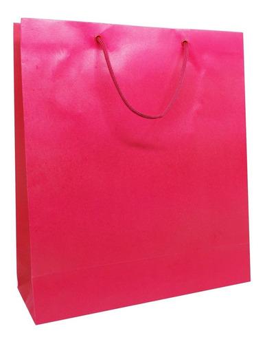 50 Sacolas Para Presente E Lembrancinhas Pink 30x35x11 Cm