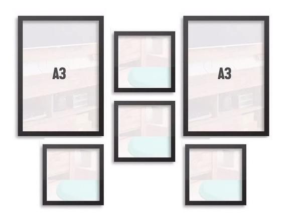 Moldura Kit 4 Tam A4=21x30cm E 1 Tam A3=30x42cm C/ Acrilico