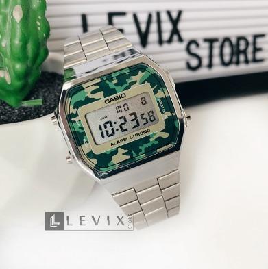 Relógio Casio A168 Prata Camuflado Aço Masculino Feminino