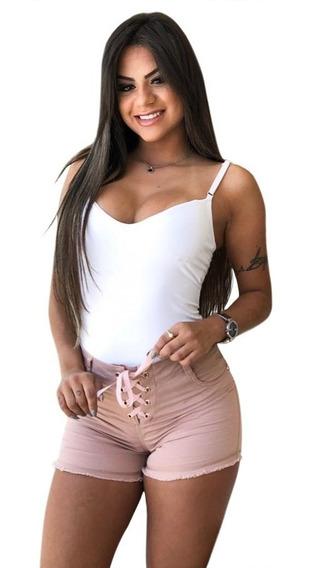 Bermuda Shorts Jeans Feminina Cintura Alta Estilo Pit Bull.