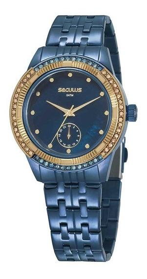 Seculus Relógio Multifunção Aço Aro Giratório Com Cristais Azul
