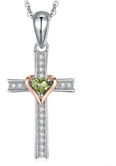 Colar Cordão Cruz Feminino Prata 925 Pedra Peridoto Natural