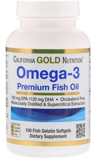 Omega 3, Óleo De Peixe Premium, 100 Cápsulas Em Gel