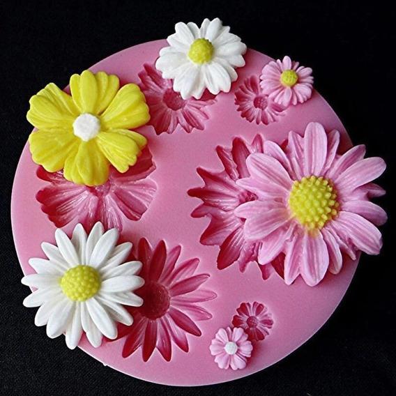 Molde De Silicone Flor Margarida Para Confeitaria E Biscuit