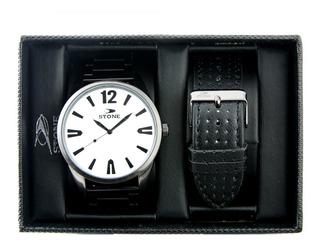 Reloj Stone Urbano Doble Malla Metal ,cuero Estuche Original