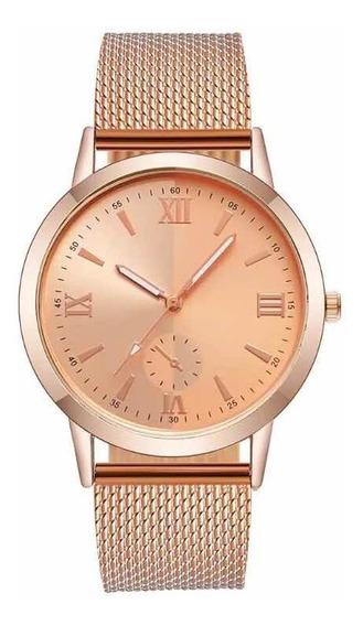 Relógio Feminino Barato Pulseira De Plástico Rosê Gold