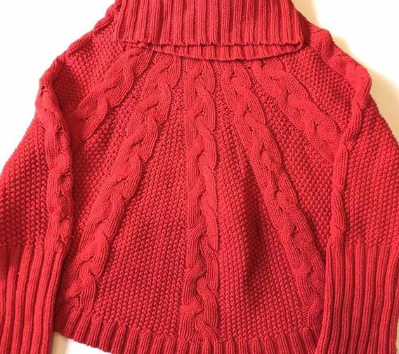 Suéter Tipo Poncho Niña, Talla 8, Rojo, Usado