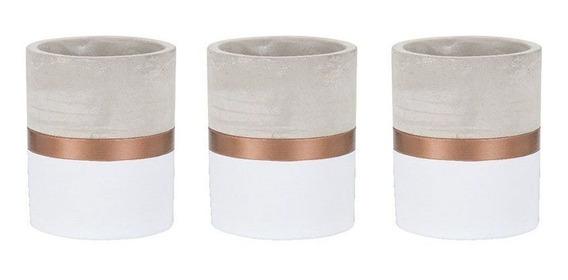 Kit 3 Vaso Branco E Cobre Em Cimento - Mart 7695
