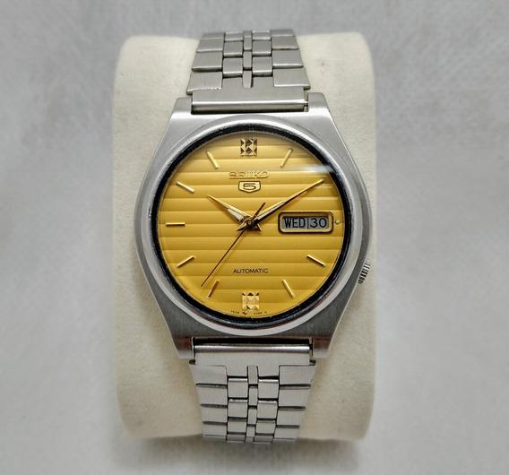 Relógio Seiko 5 Automático 7009 449rr Listras Douradas Lindo