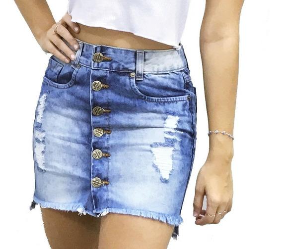 Saia Jeans Cintura Alta Botão Frontal Desfiada @espaco.mia